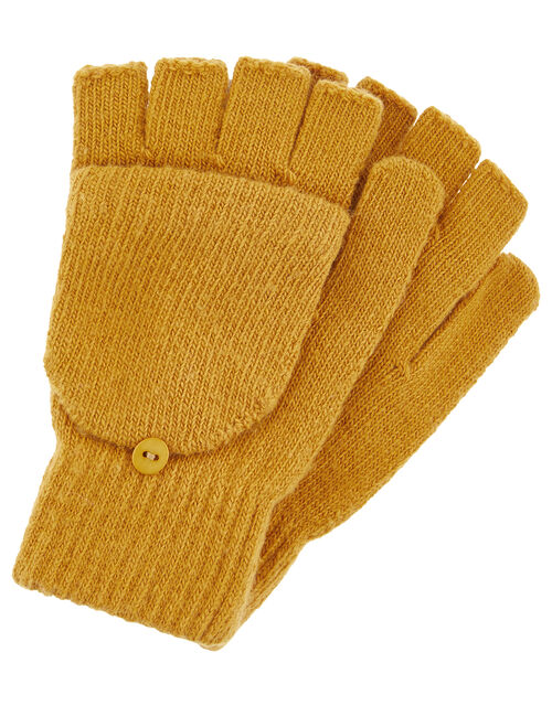 Capped Gloves with Recycled Polyester, Yellow (OCHRE), large