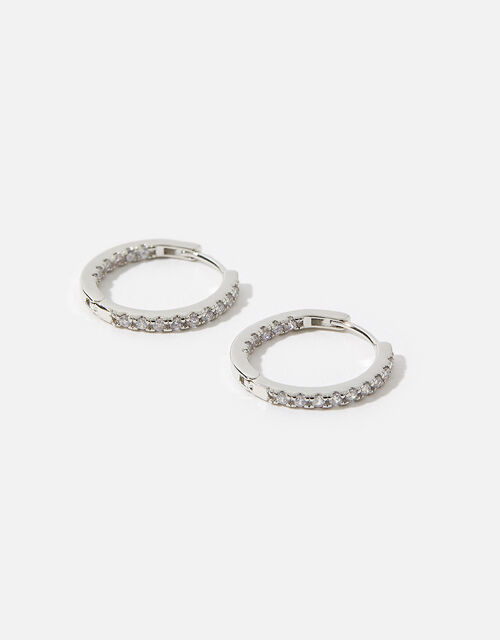 Platinum-Plated Diamante Hoops, , large