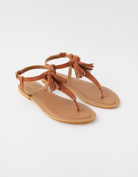 Suede Tassel Sandals Tan, Tan (TAN), large