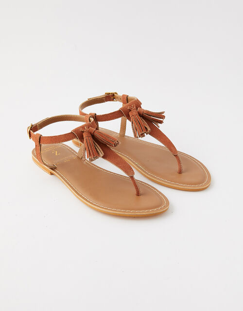 Suede Tassel Sandals, Tan (TAN), large