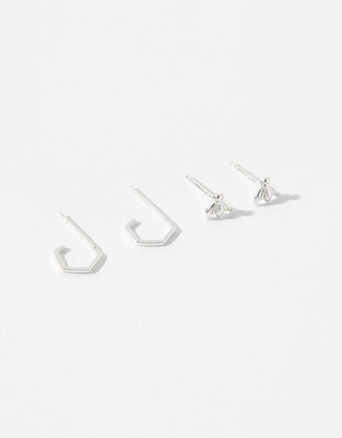 Sterling Silver Bee Earring Set, , large