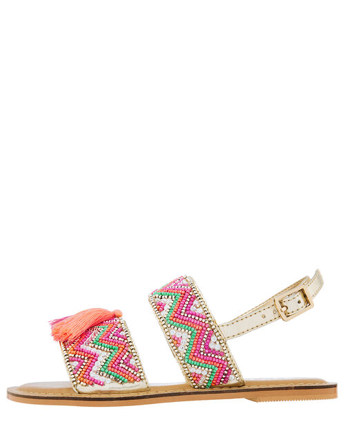 Chevron Beaded Tassel Sandals, Pink (PINK), large