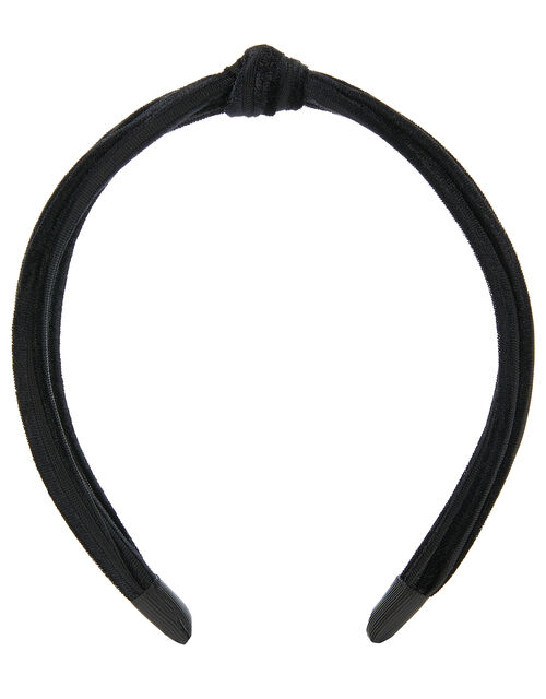 Slim Velvet Knot Headband, Black (BLACK), large
