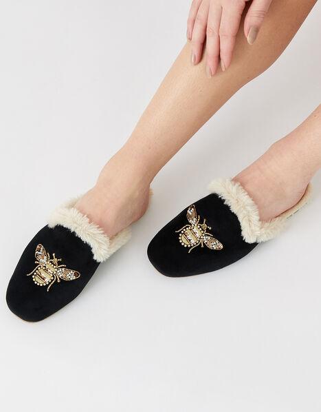 Embellished Bee Mule Slippers Black, Black (BLACK), large