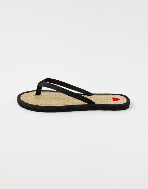 Heart Seagrass Flip Flops, Black (BLACK), large