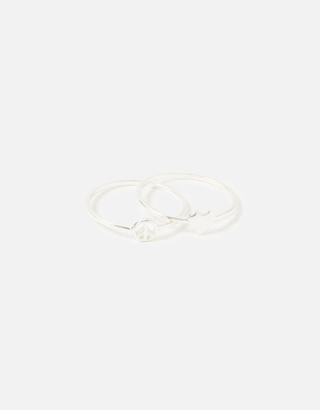 Sterling Silver Heart Peace Ring Twinset Silver, Silver (ST SILVER), large