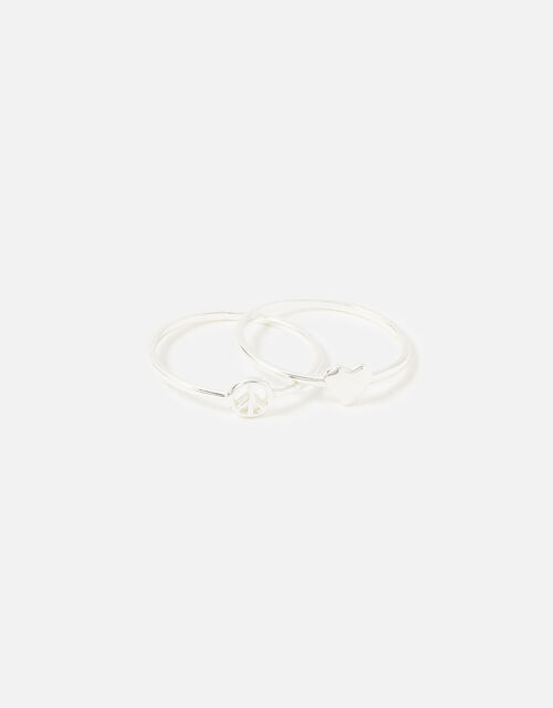 Sterling Silver Heart Peace Ring Twinset, Silver (ST SILVER), large