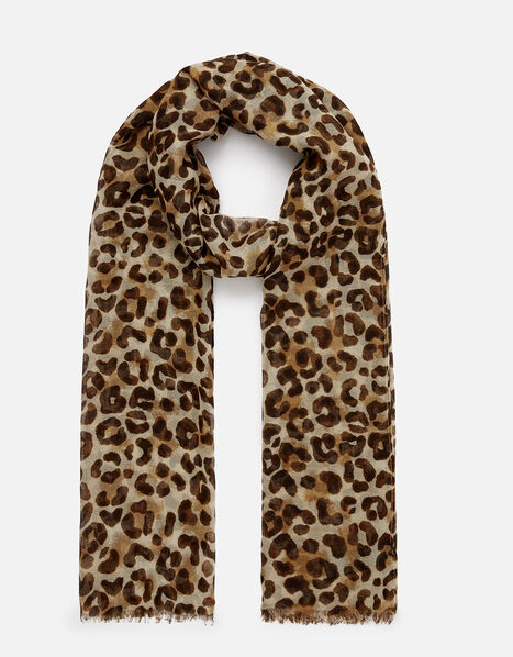 Leopard Print Scarf, , large
