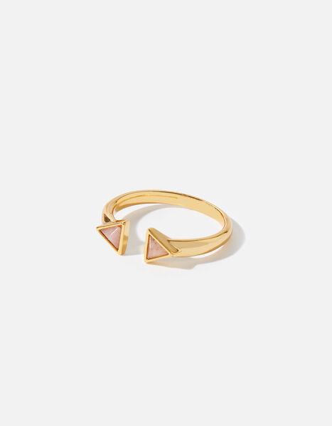 Healing Stones Rose Quartz Pyramid Ring Gold, Gold (GOLD), large