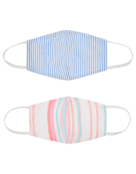 Kids Stripe Face Covering Set in Pure Cotton, , large