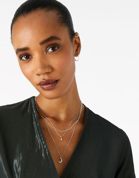 Platinum-Plated Celestial Layered Necklace, , large