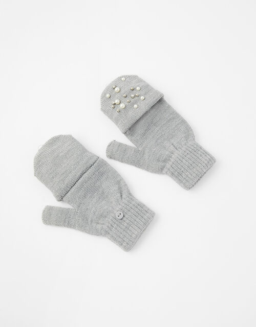 Pearl and Crystal Capped Knit Gloves, Grey (GREY), large