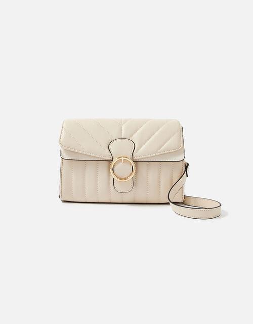 Annie Quilted Shoulder Bag, Cream (CREAM), large