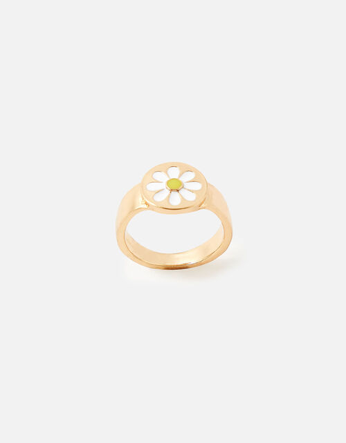 Enamel Daisy Ring, White (WHITE), large