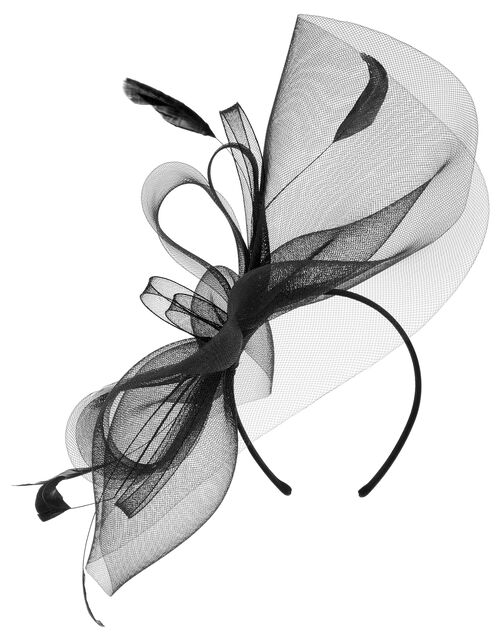 Rhea Oversized Bow Fascinator Headband, Black (BLACK), large