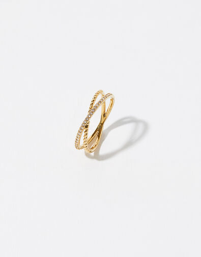 Gold-Plated Pave Cross-Over Ring Gold, Gold (GOLD), large