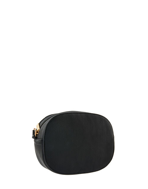 Quilted Faux Leather Cross-Body Bag, Black (BLACK), large