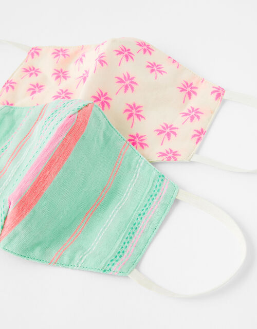 Kids Palm Tree Face Covering Set in Pure Cotton, , large
