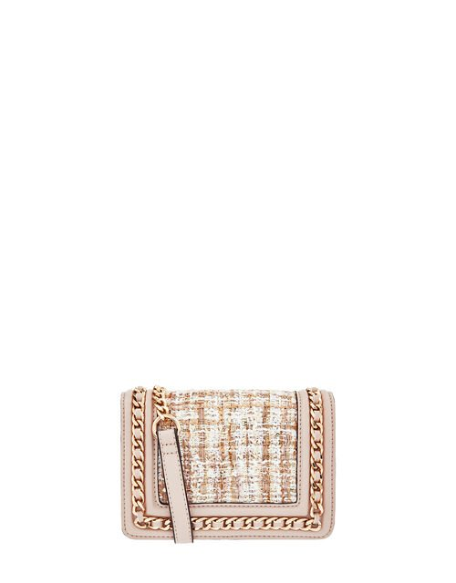 Tweed and Chain Shoulder Bag with Built-In Mirror, Nude (NUDE), large
