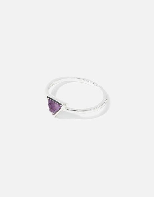Sterling Silver Healing Stone Amethyst Ring, Purple (PURPLE), large