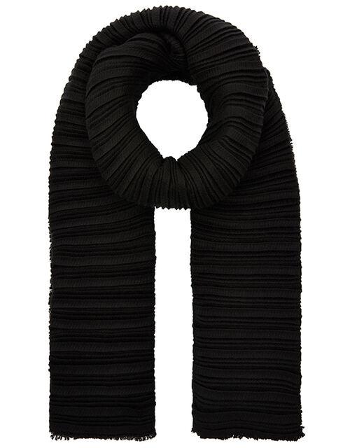 Origami Pleated Scarf, Black (BLACK), large