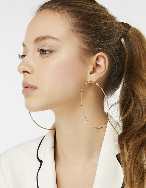 Large Simple Hoop Earrings Gold, Gold (GOLD), large