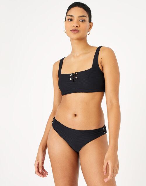 Eyelet Detail Ribbed Bikini Briefs, Black (BLACK), large
