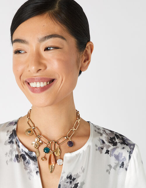 Helena Statement Charm Collar Necklace, , large