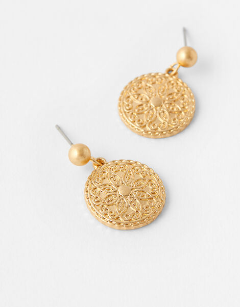 Flower Coin Short Drop Earrings, , large
