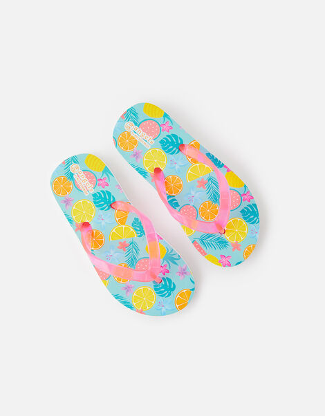Fruit Print Flip Flops Multi, Multi (BRIGHTS-MULTI), large