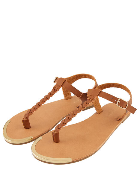 Plaited Strap Sandals Tan, Tan (TAN), large