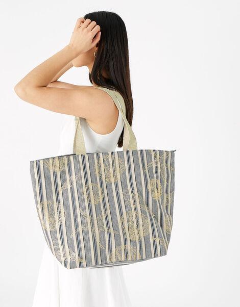 Seashell and Stripe Beach Bag, , large
