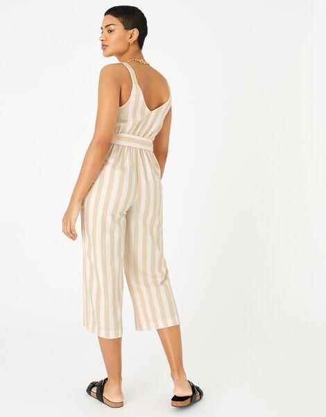 Stripe Belted Jumpsuit Cream, Cream (CREAM), large