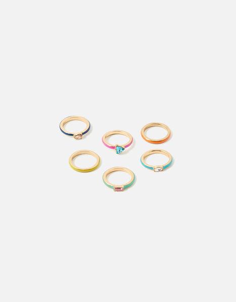 Gem and Enamel Stacking Ring Set Multi, Multi (BRIGHTS-MULTI), large
