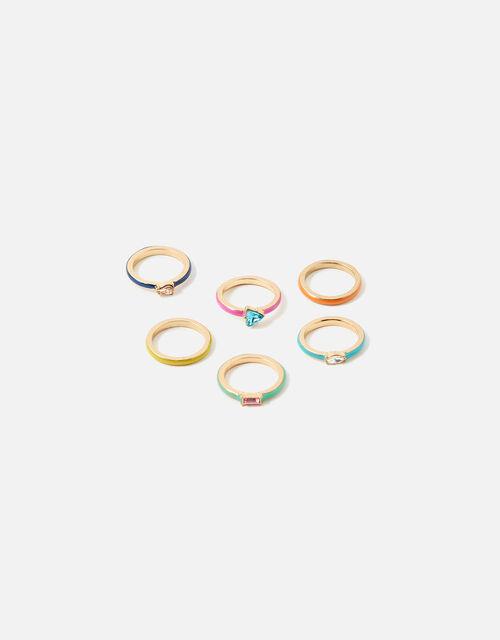 Gem and Enamel Stacking Ring Set, Multi (BRIGHTS-MULTI), large