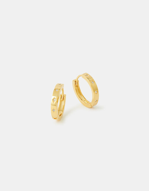 Gold-Plated Sparkle Star Hoop Earrings, , large