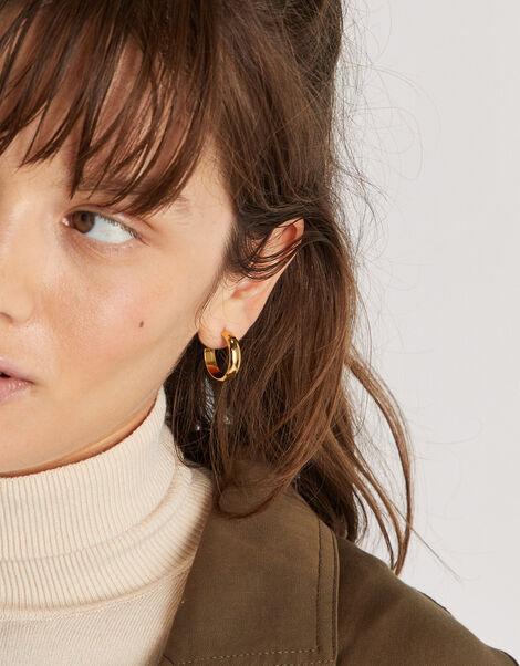 Gold-Plated Plain Chunky Hoop Earrings, , large
