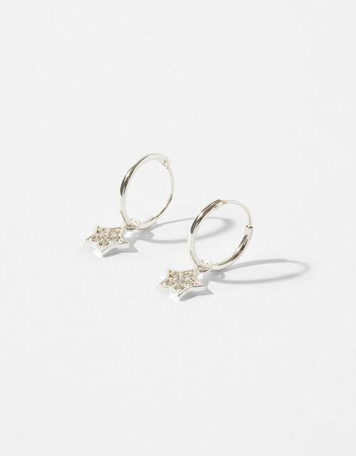 Sterling Silver Star Charm Hoop Earrings, , large