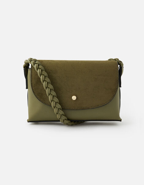 Pia Plaited Shoulder Bag  Green, Green (KHAKI), large