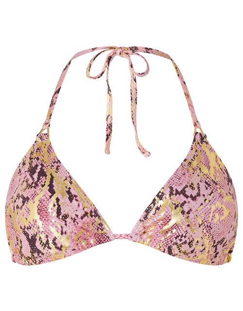 Snake-Print Metallic Triangle Bikini Top, Pink (PINK), large