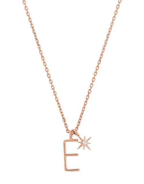 Rose Gold-Plated Initial Star Necklace - E, , large