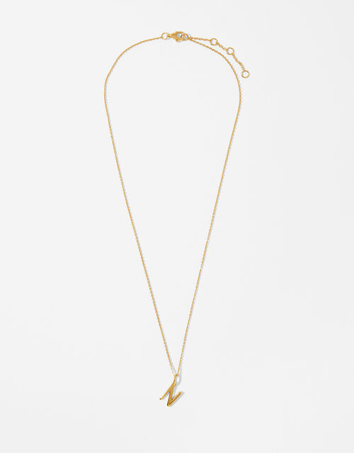 Gold Vermeil Initial Pendant Necklace - N, , large