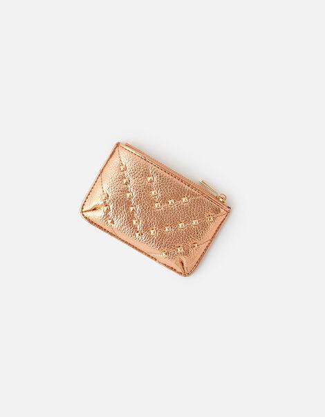 Quilt Studded Card Holder Gold, Gold (ROSE GOLD), large