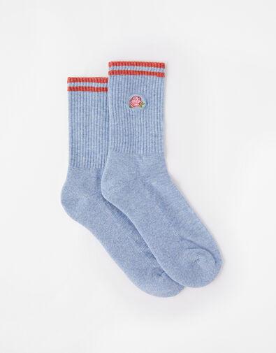 Embroidered Rose Socks, , large