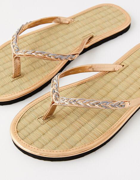 Plaited Seagrass Flip Flops Metalic, Metalic (METALLICS), large