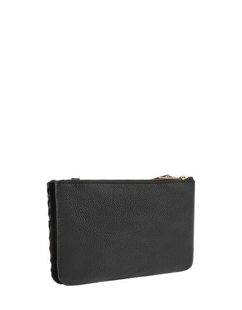 Kristina Woven Leather Cross-Body Bag, Black (BLACK), large