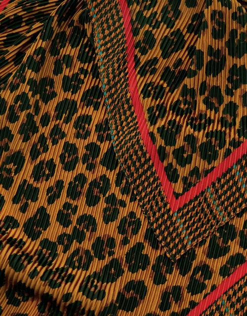Leopard Print Crinkle Square Scarf, , large