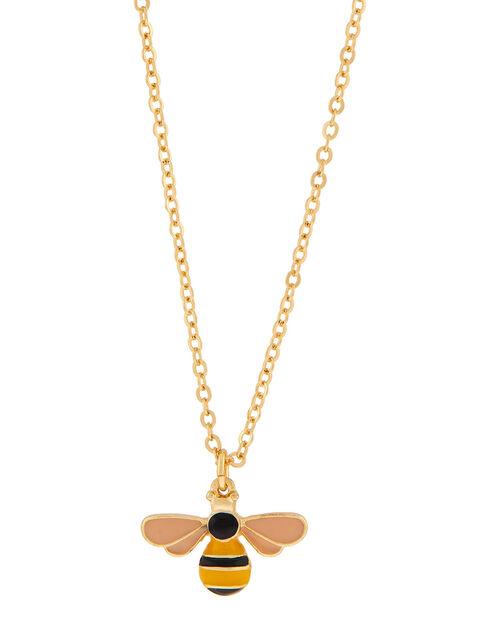 Enamel Bee Pendant Necklace, , large