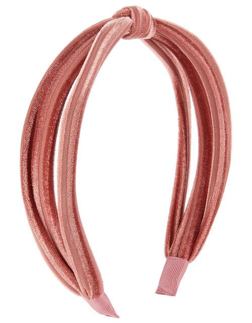 Slim Velvet Knot Headband, Pink (PINK), large