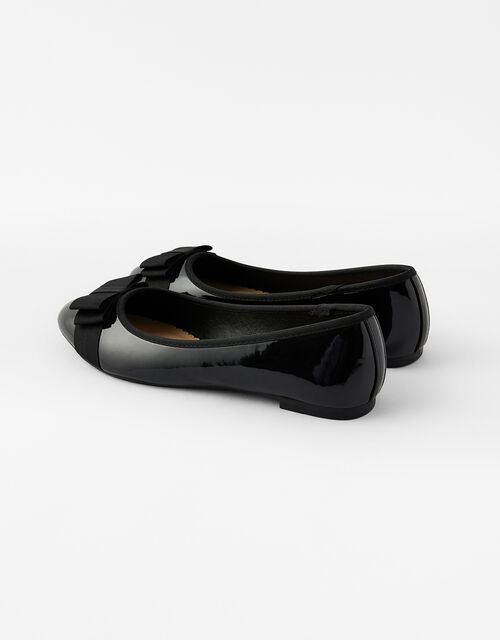 Bow Front Patent Ballerina Flats, Black (BLACK), large